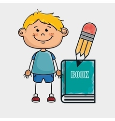 Boy student book pencil vector