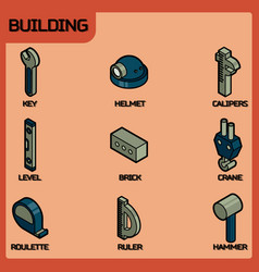 building color outline isometric icons vector image