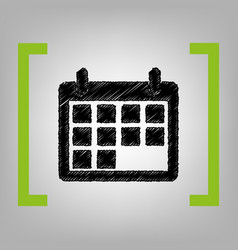 calendar sign black scribble vector image