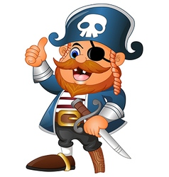 Cartoon pirate thumb up vector