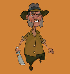 Cartoon walking displeased man with a cleaver in vector