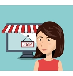 cartoon woman store e-commerce isolated design vector image