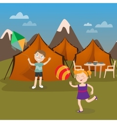 Children Summer Camp Boy Launches Kite vector