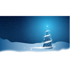 christmas tree blizzard stars snow sky night blue vector image