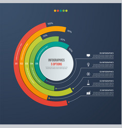 circle informative infographic design 5 options vector image