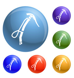 Climb ice axe icons set vector