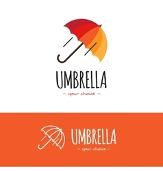 Colorful orange and red umbrella logo Cute vector