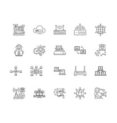 computer network services line icons signs vector image