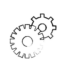 contour gears symbol process industry vector image