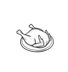 Cooked chicken hand drawn sketch icon vector