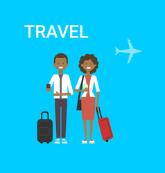 couple travellers with bag young african vector image