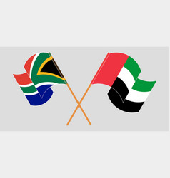 Crossed and waving flags rsa and united vector