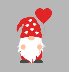 cute cartoon gnome with balloon heart on a gray vector image