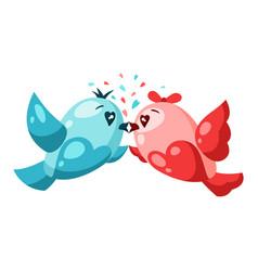Cute couple birds in love valentine day vector