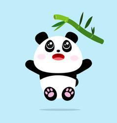 cute panda cartoon jump to eat bamboo leaves vector image