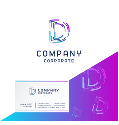 d company logo design with visiting card vector image
