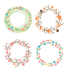 Decorative spring autumn summer wreaths vector