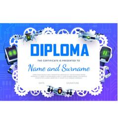 Diploma certificate cartoon robots or gear droids vector