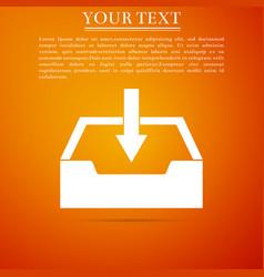 Download inbox icon isolated on orange background vector