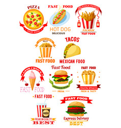 Fast food restaurant lunch meal symbol set vector
