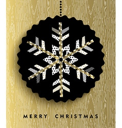 Gold Christmas snowflake in abstract style design vector