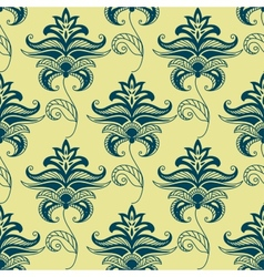 Green paisley floral pattern on yellow background vector