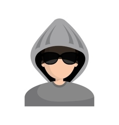 Hacker character avatar icon vector
