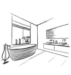 hand drawn bathroom washbasin and window sketch vector image