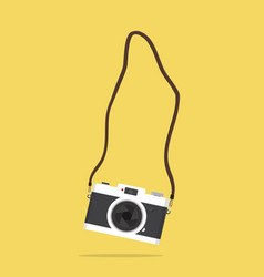Hanging camera with strap vector