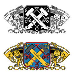 Heraldic in celtic style with a dragon vector