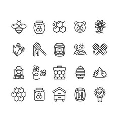 Honey sign black thin line icon set vector