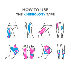 how to use the kinesiology tape vector image