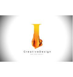 i orange letter design brush paint stroke gold vector image