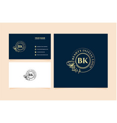 Initial bk letters hand drawn feminine and floral vector
