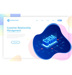 isometric crm web banner customer relationship vector image