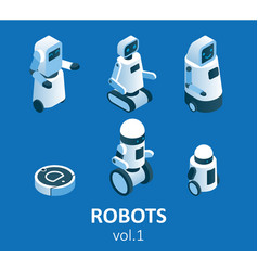 isometric modern robotics icon set vector image