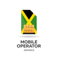 Jamaica mobile operator sim card with flag vector