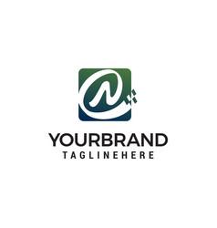letter n pixel logo design concept template vector image