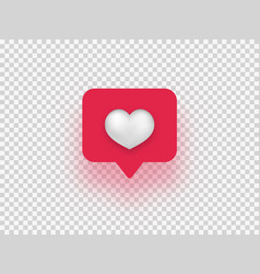 Like network isolated white heart with red vector
