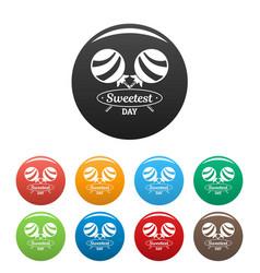 lollipop sweet icons set color vector image