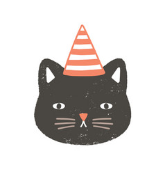 lovely face or head cat wearing party hat vector image