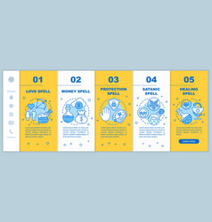 Magic spells onboarding mobile web pages template vector