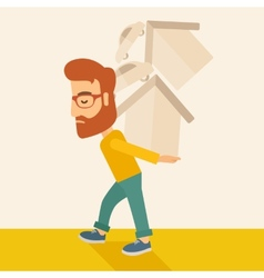 Man carrying house and car vector