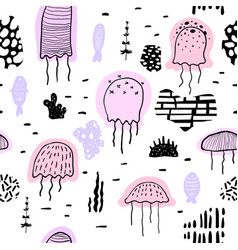 nautical seamless pattern with jellyfish childish vector image