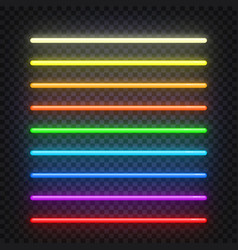 neon brushes set set of colorful light objects on vector image