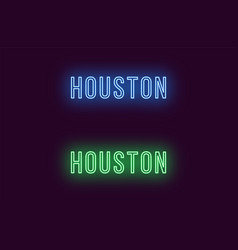 Neon name of houston city in usa text vector