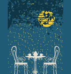 Night landscape with furniture of street cafe vector
