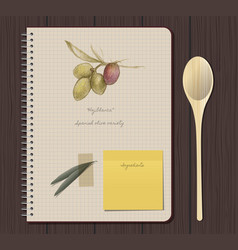 notebook olives hand drawn-01 vector image