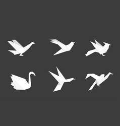 origami birds made of white paper vector image