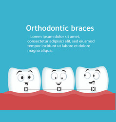 Orthodontic braces banner with teeth characters vector